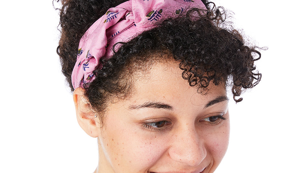 Braided Pink Sari Tie Headband