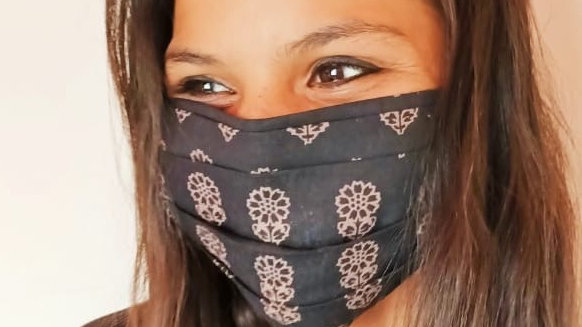 Black Block Print Double Layer Cloth Mask with Filter Pocket, tie closure