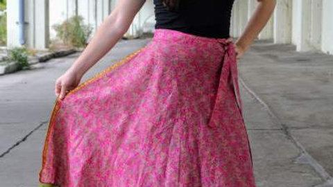 Pink & Green Wrap Skirt