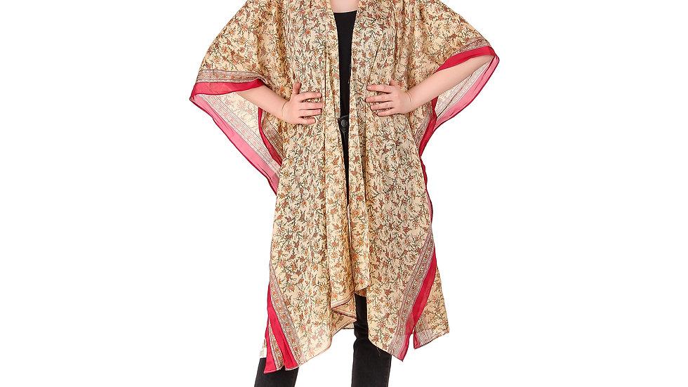 Beige Vintage Sari Kimono