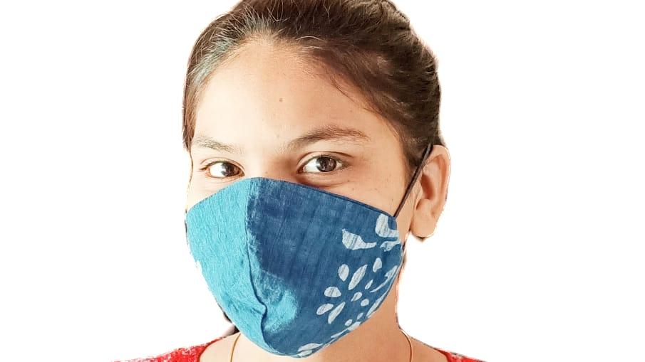 Blue Print Cloth Double Layer Mask with elastic ear loops