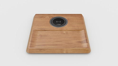 the aircharge wireless charging valet tray is a wireless charging solution into an oak valet tray position this wireless charging transmitter - Valet Tray