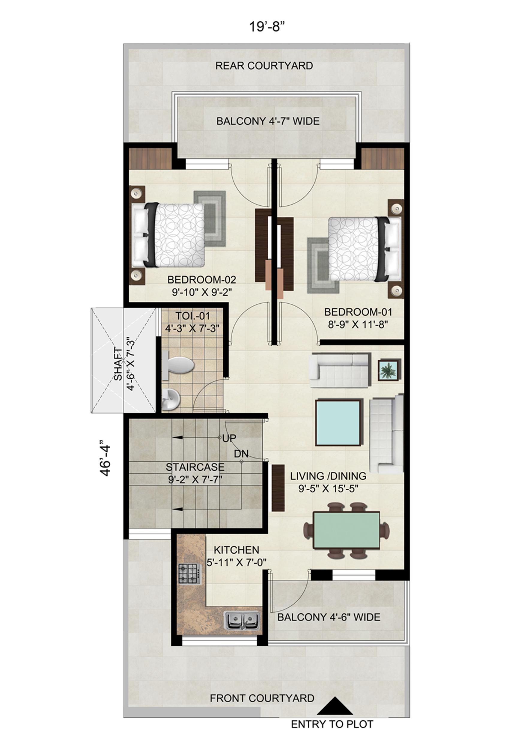 Floor on 102 Sq. Yard - Plot