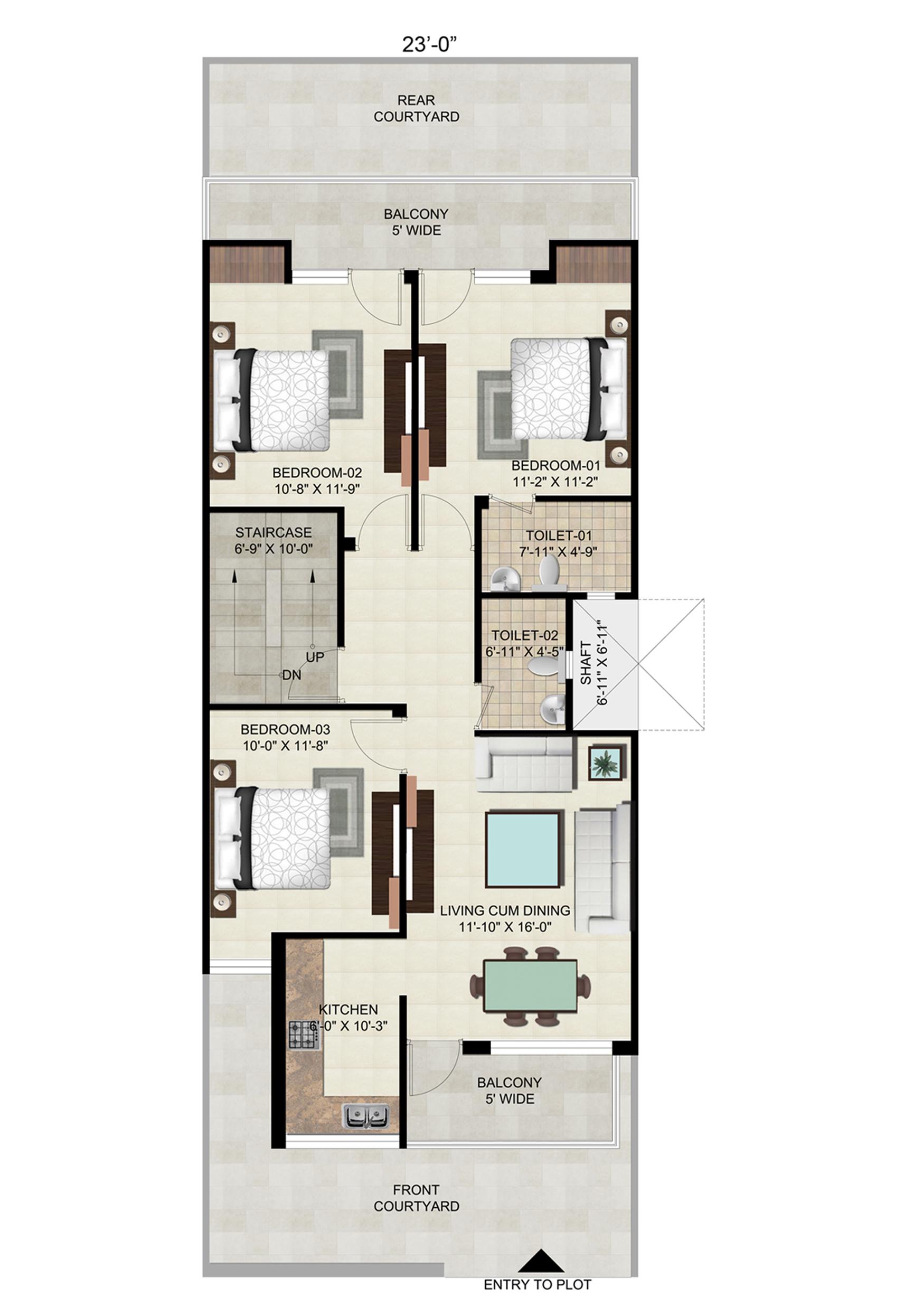 Floor on 164 Sq. Yard - Plot