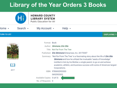"""Library of the Year"" Orders 3 Books"