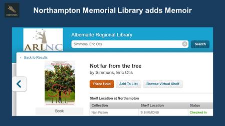 Northampton Memorial Library Adds Memoir