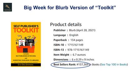 """Self Publisher's Toolkit"" Amazon Sales"