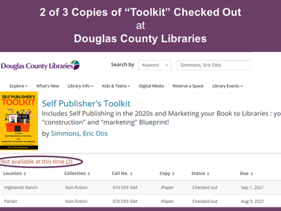 """2 Copies of """"Toolkit"""" Checked Out"""