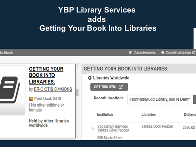 """YBP Library Services Adds """"Getting Your Book Into Libraries"""""""