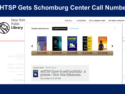 Schomburg Center Assigns #HTSP Call Number