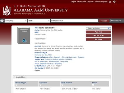 Memoir Checked Out at Alabama A&M