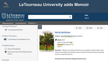LeTourneau University adds Memoir