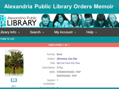 """Alexandria Public Library Adding """"Not Far From The Tree"""""""