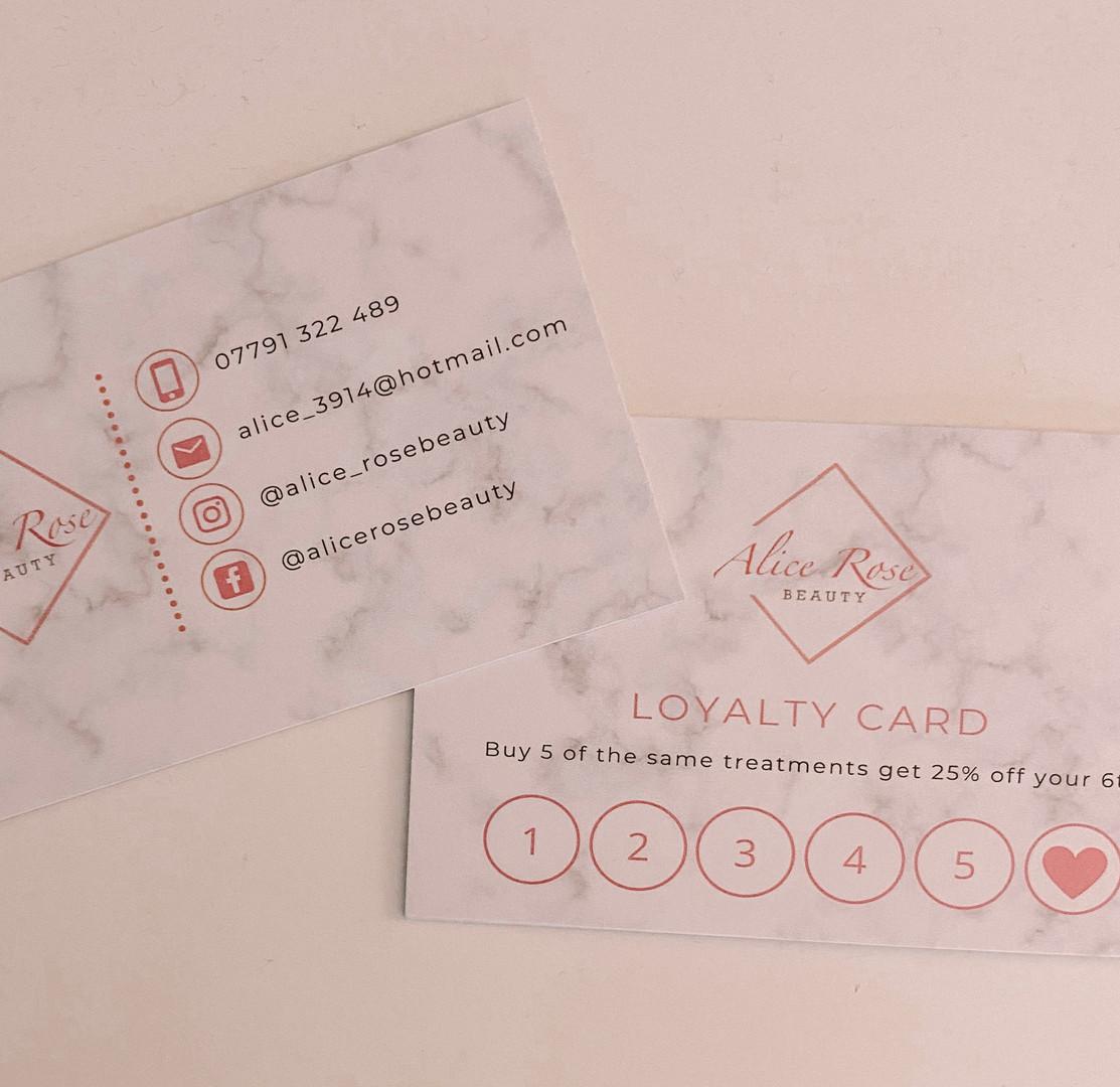 Alice Rose Beauty Loyalty Cards