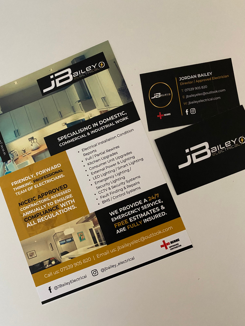 JBailey Electrical Leaflets & Business Cards