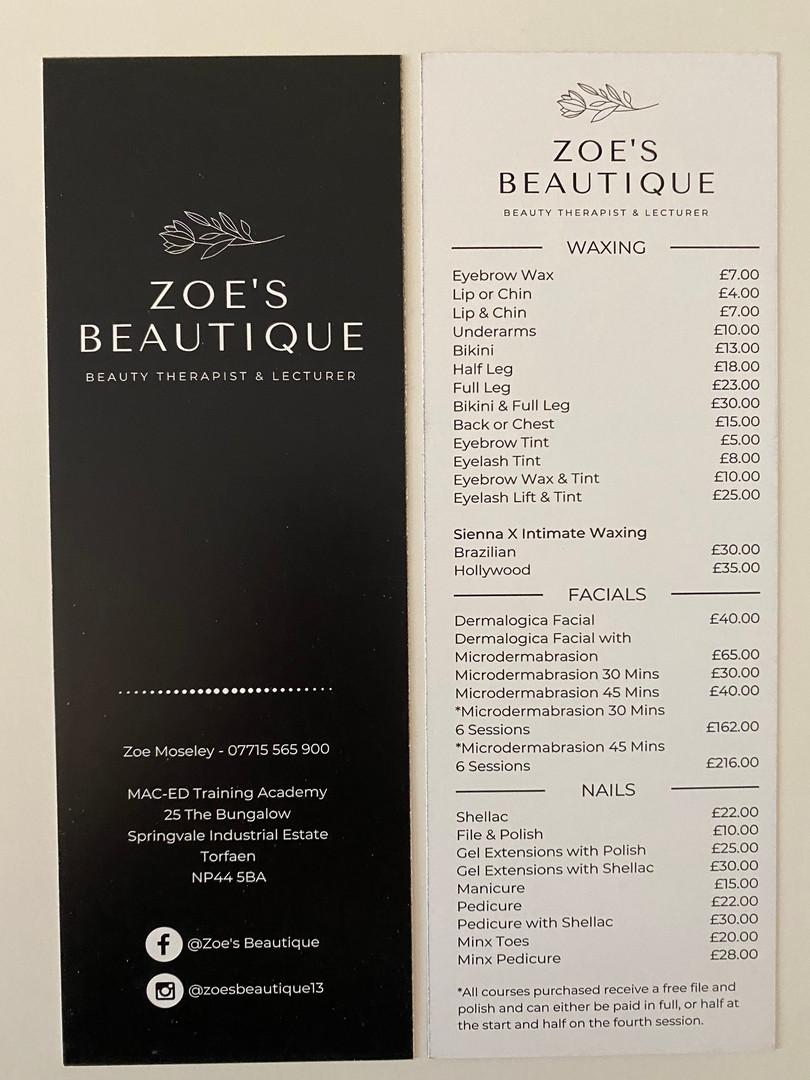 Zoe's Beautique Price Lists