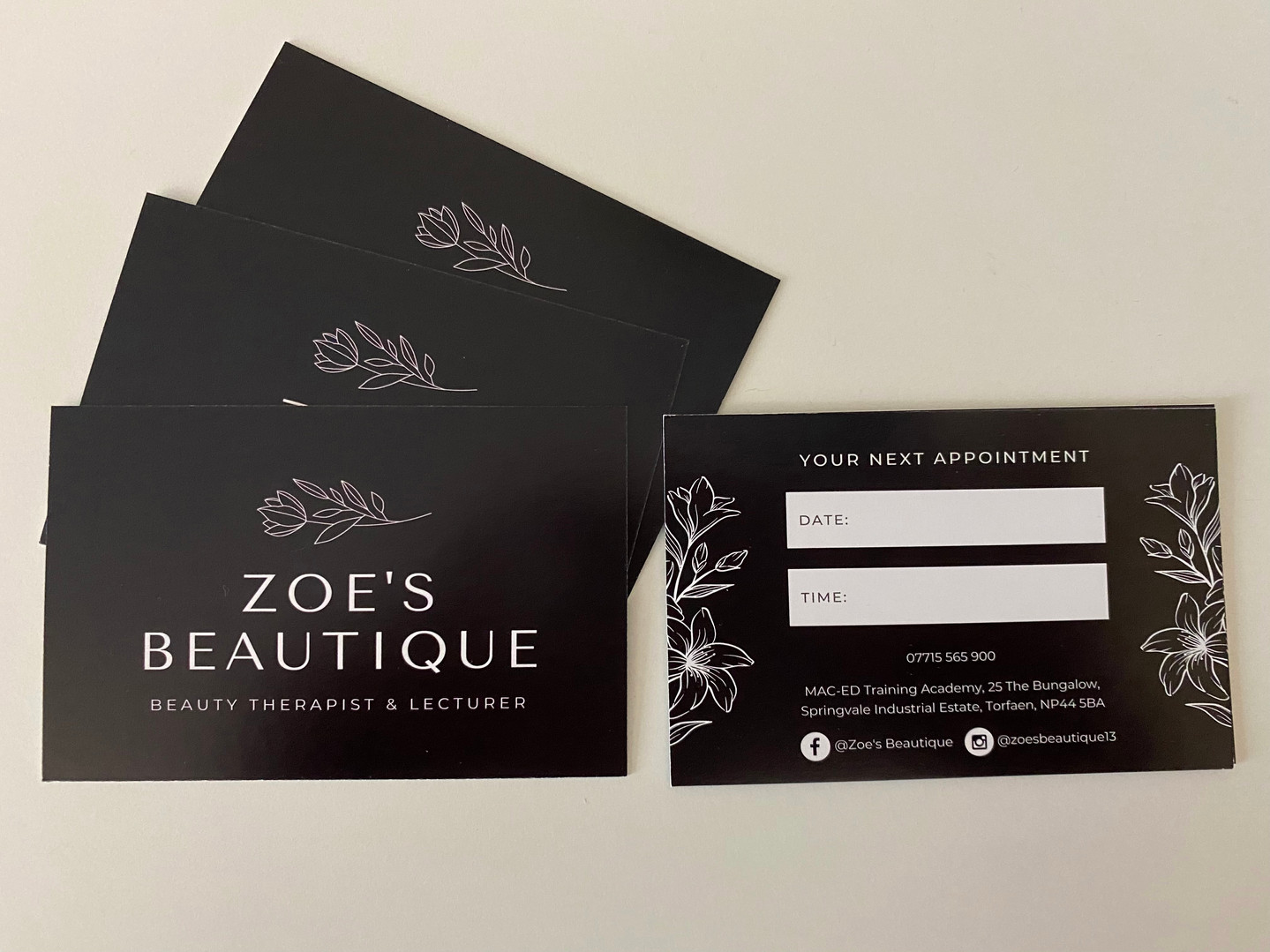 Zoe's Beautique Appointment Cards