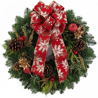 Wreath - Red/White Bow
