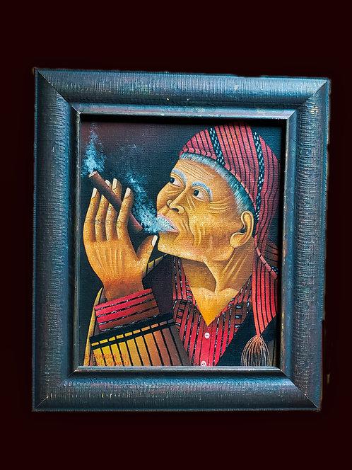 El Fumador - oil painting by Otoniel Gonzalez