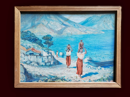 Water Carriers - oil painting by Flora T. Little