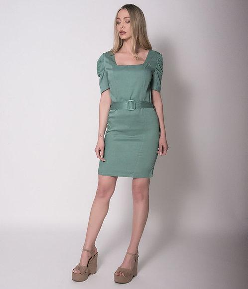 Μίνι Φόρεμα με Τετράγωνο Λαιμό και Ζώνη Μέντα