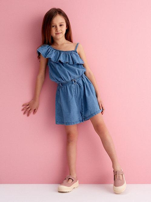 Ολόσωμο σορτσάκι τύπου τζιν για κοριτσάκι 7-13 ετών.