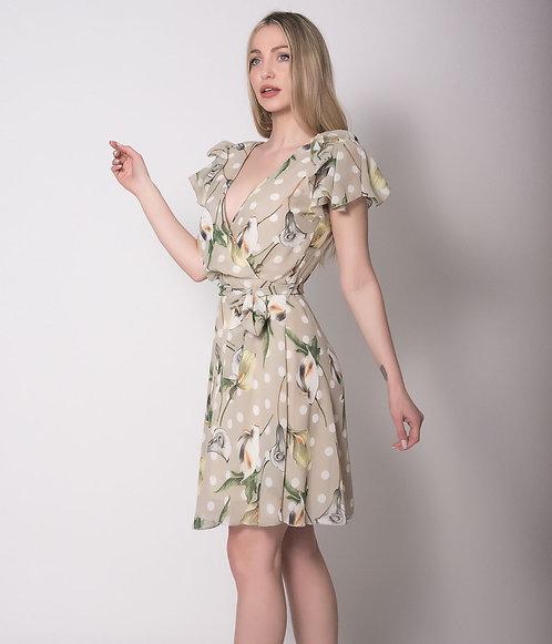Μίνι Φόρεμα Κρουαζέ Φλοράλ Εμπριμέ με διπλό μανίκι
