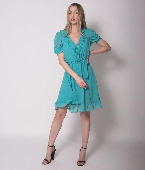 Μίνι  Φόρεμα Μουσελίνα Κρουαζέ Με Διπλό Βολάν Στο Μανίκι