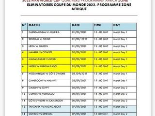 Eliminatoires Coupe du Monde FIFA 2022- Programme Zone Afrique