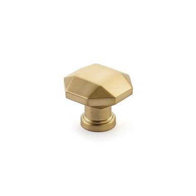 Menlo Faceted Knob Satin Brass