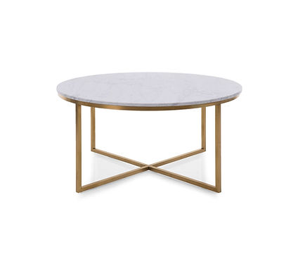 Round Marble & Brass Coffee Table