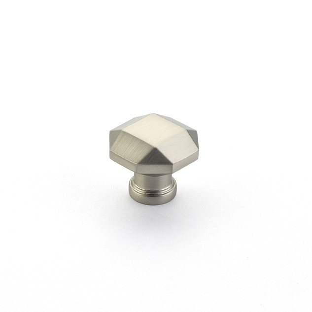 Menlo Faceted Knob Satin Nickel