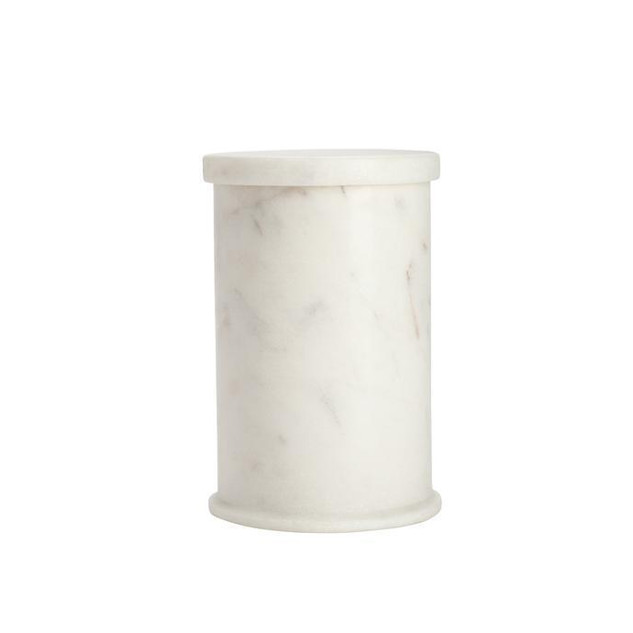 Marble Cotton Holder with Lid