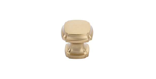 Empire Square Knob Satin Brass