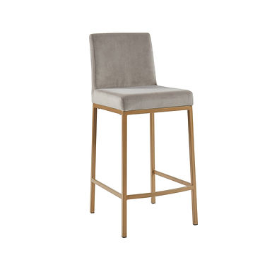 Diego Counter Stool - Grey w/ Gold Base