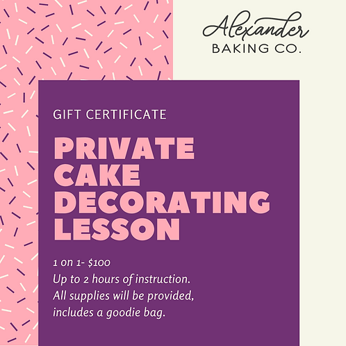 Gift Certificate for a Private Cake Decorating Lesson
