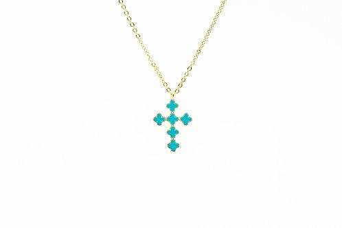 Turquoise enamel cross necklace