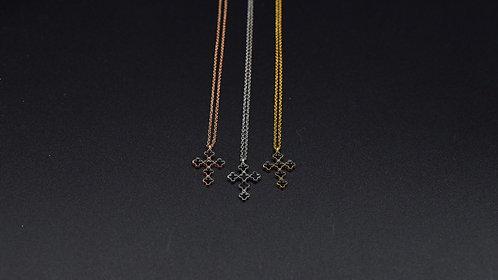 Collier croix émail noir