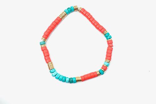 Bracelet Eve Corail et turquoise