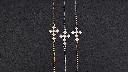 Bracelet Croix émail blanc