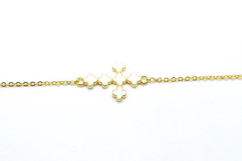 White enamel cross bracelet