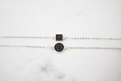 Bracelet carré ou rond oxyde noir
