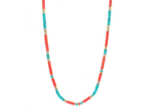 Collier Eve Turquoise et Corail