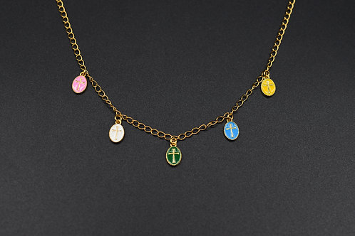 Multi medal cross necklace