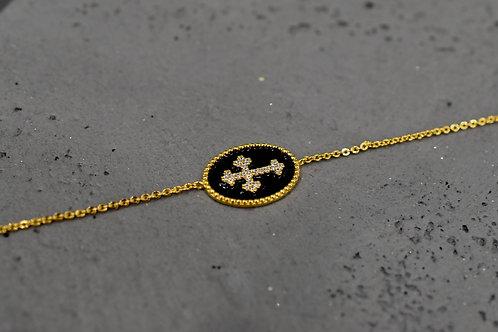 Bracelet Croix oxydes émaille noir