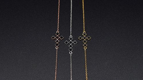 Bracelet Croix Émail noir