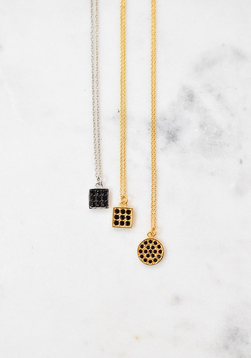 Square or round black oxide necklace