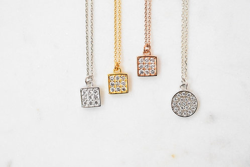 Square or round zirconium oxide necklace