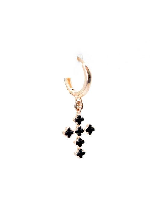 BO croix émaillée noir