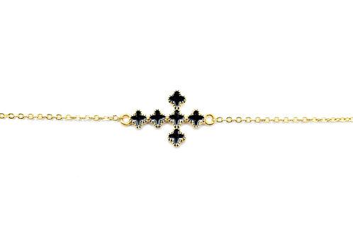 Black Enamel Cross Bracelet